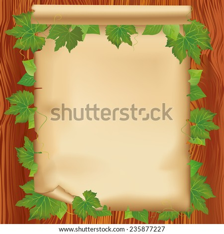 Sheet of old paper- place for text on wooden board with leaves. Nature background with fresh green leaves.  - stock photo
