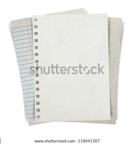 Sheet of paper stack isolated on white background, Objects with Clipping Paths for design work - stock photo