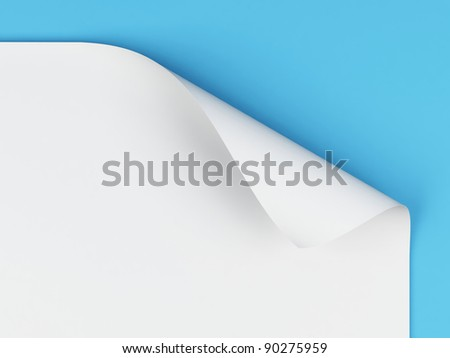 Sheet of paper with curled corner. - stock photo