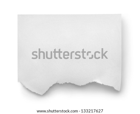 Sheet of white paper isolated on white background - stock photo