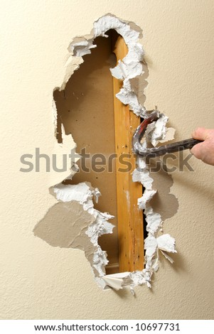 Sheetrock removal - stock photo