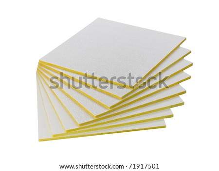 sheets ceiling insulator for heat protection into your house and rooms - stock photo