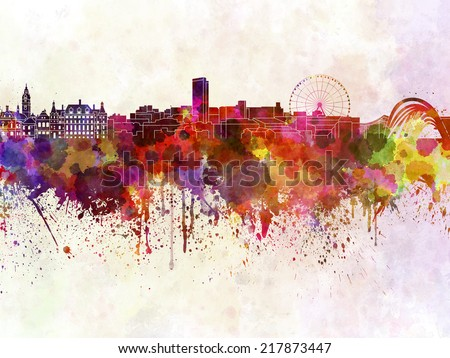 Sheffield skyline in watercolor background - stock photo