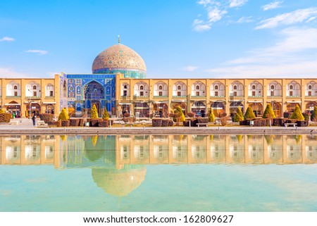 Sheikh Lotfollah Mosque at Naqsh-e Jahan Square in Isfahan, Iran. Construction of the mosque started in 1603 and was finished in 1618. - stock photo