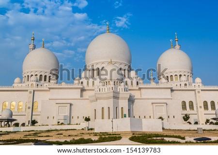 Sheikh Zayed Grand Mosque in Abu Dhabi, the capital city of United Arab Emirates - stock photo