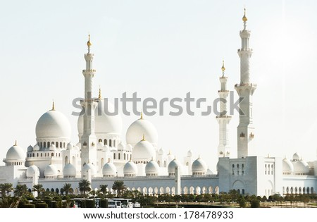 Sheikh Zayed Grand Mosque in Abu Dhabi, the capital city of United Arab Emirates - stock photo