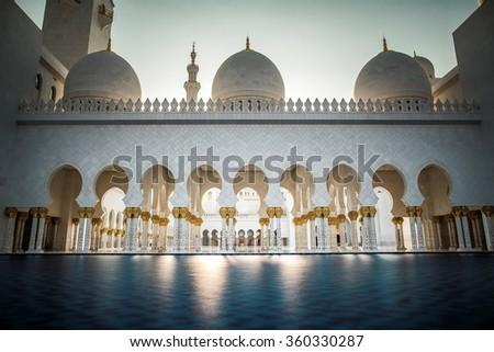 Sheikh Zayed Mosque in Abu Dhabi, United Arabian Emirates - stock photo