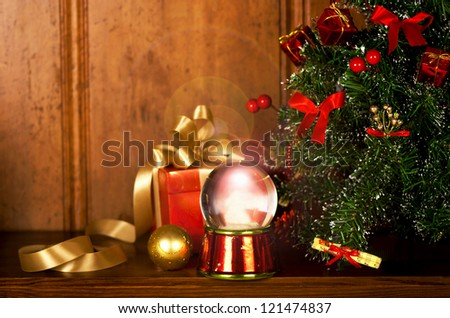 shelf decorated by New Year's symbols on a wooden background - stock photo