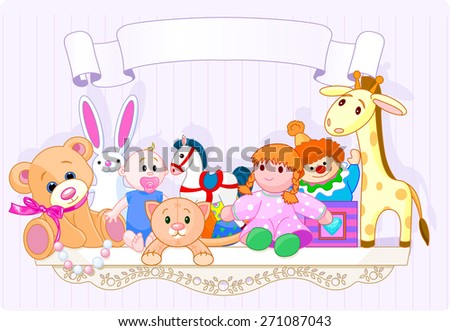 Shelf full of baby toys with space for copy\text - stock photo
