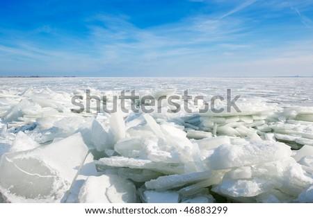 shelf ice in Marken a small village near Amsterdam The Netherlands - stock photo