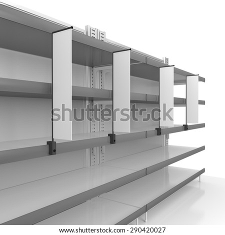 shelf in perspective with blank shelfstoppers - stock photo