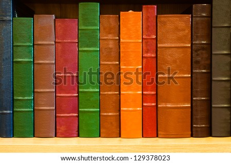 Shelf of books with colorful leather spines - stock photo