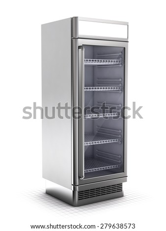 Shelf refrigerator isolated on white - stock photo