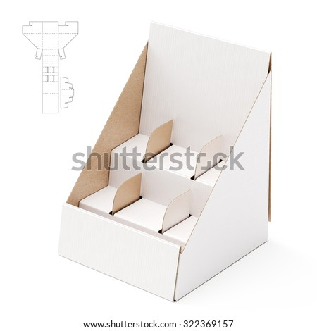 Shelf Stand Box with Counter Display and Die Line Template - stock photo