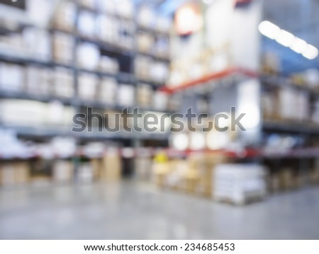 Shelf Storage in hypermarket interior blur background - stock photo
