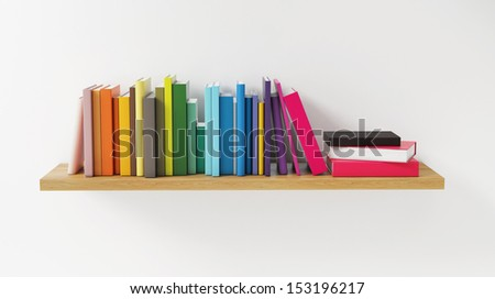 Shelf with Color Book on the White Wall, Concept, Render - stock photo