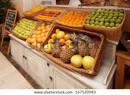 Shelf with fruits in an italian restaurant  - stock photo