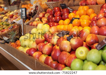 Shelf with fruits on farm market - stock photo