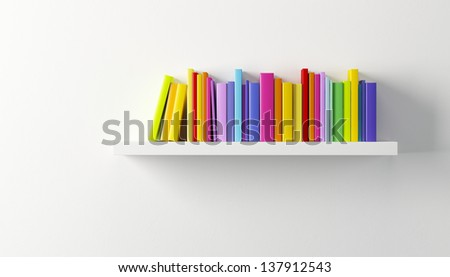 shelf with multicolored books, 3d render - stock photo