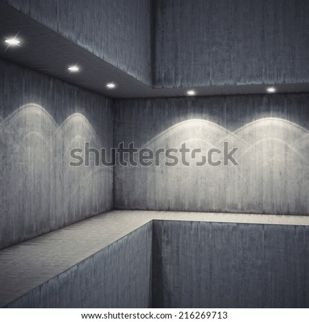 Shelf with spot lighting in the concrete wall - stock photo