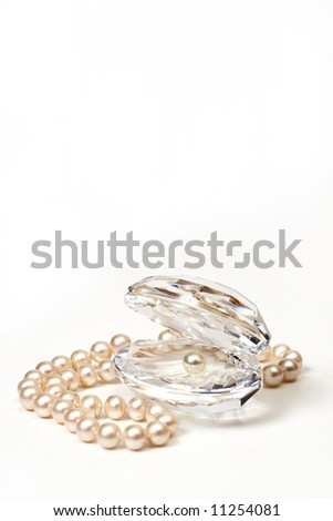 Shell & beautiful beads with pearls - stock photo
