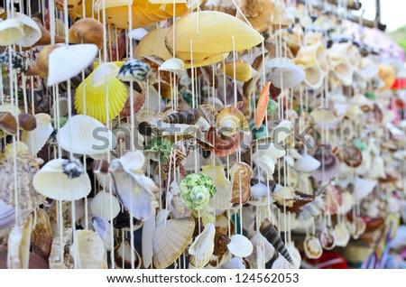 Shell mobile on samila beach in Thailand - stock photo