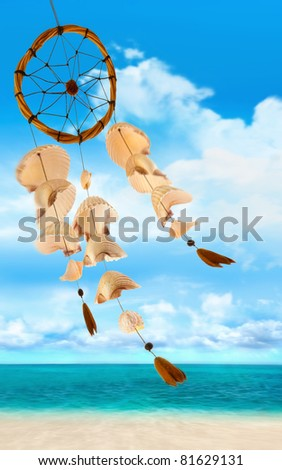 Shells blowing in the wind at sea shore - stock photo