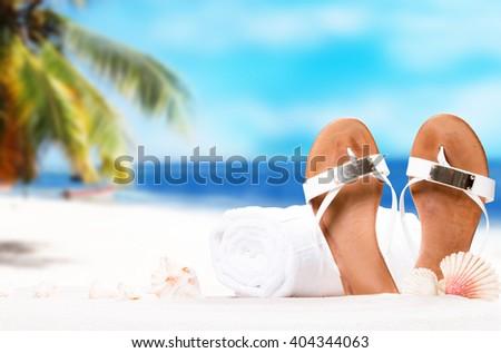 Shells on sandy beach with tropical beach background  - stock photo