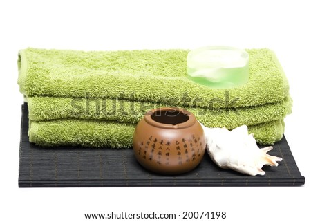 shells, towels and soap on white - stock photo