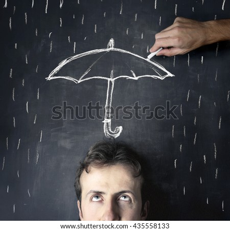 Shelter from the rain - stock photo