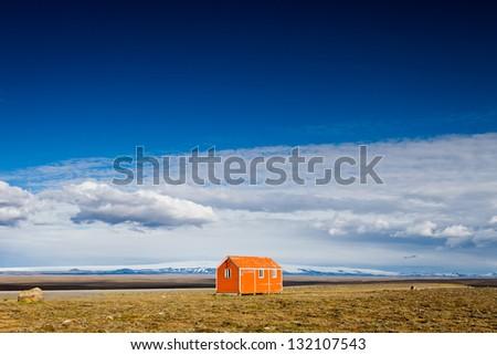Shelter hut along the Kjolur route - stock photo