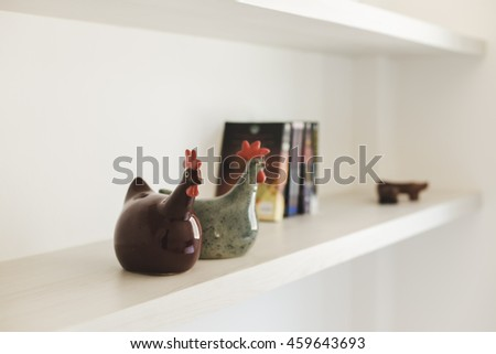 Shelves in modern living room, Decorate furniture - stock photo