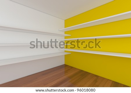 Shelves with empty room. Empty Room decorated with abstract wall and wood floor. - stock photo