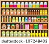 Shelves with products. Raster illustration. - stock photo