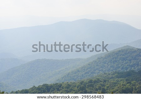 Shenandoah National Park - Cascade forests at morning haze - stock photo