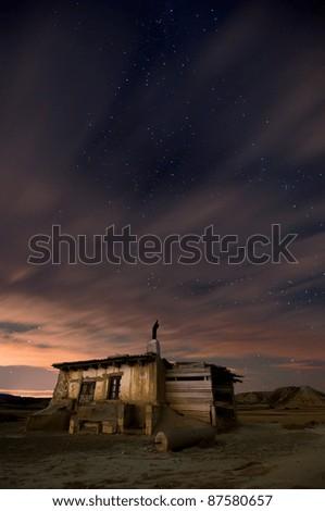 Shepherd hut at desert night near Pamplona, Spain - stock photo