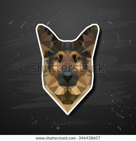 shepherd sheep-dog abstract triangle polygonal   - stock photo