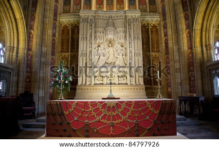 Sherborne Abbey Altar - stock photo