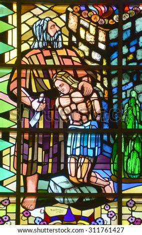 SHERBROOKE QUEBEC CANADA AUGUST 29 2015: Stained galss window of Saint-Michel Basilica Cathedral  is a Roman Catholic minor basilica and cathedral dedicated to the St. Michael  - stock photo