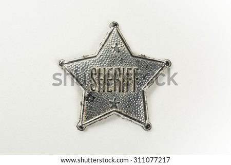 Sheriff Badge Isolated on White Background (with clipping path) - stock photo