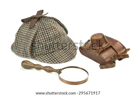 Sherlock Holmes Deerstalker Cap, Vintage Magnifying Glass And  Retro Camera Isolated On White Background. Investigation Concept - stock photo