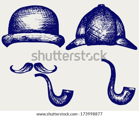 Sherlock Holmes. Icon Detective. Doodle style. Raster version - stock photo