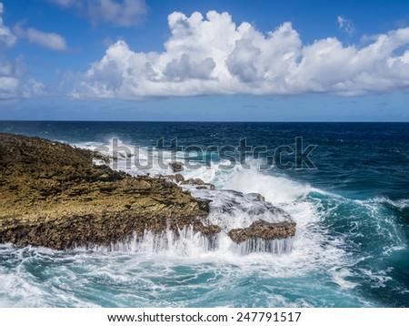 Shete Boka National par Curacao   in the Dutch Antilles a Caribbean Island - stock photo
