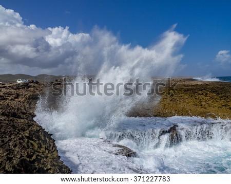 Shete Boka National Park - Views around Curacao a Caribbean Island - stock photo