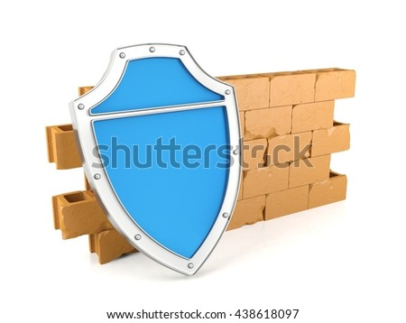 Shield and wall on white background, firewall and protection security concept, 3D rendering - stock photo