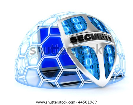 Shield antivirus and laptop, abstract (done in 3d) - stock photo