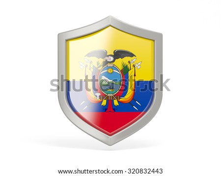 Shield icon with flag of ecuador isolated on white - stock photo