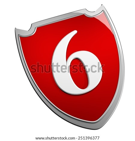 Shield 6, isolated over white, 3d render - stock photo