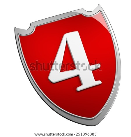 Shield 4, isolated over white, 3d render - stock photo