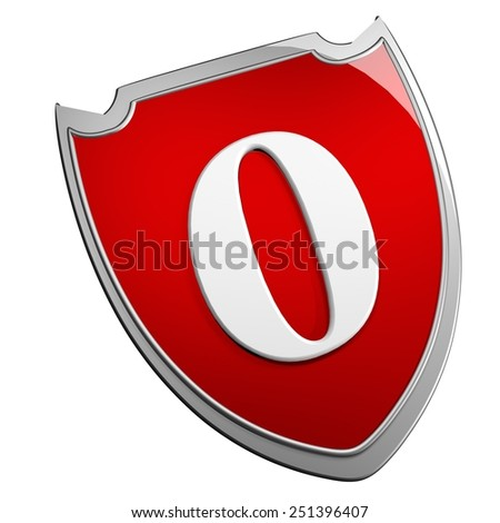 Shield 0, isolated over white, 3d render - stock photo